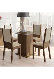 Conjunto Sala De Jantar Isis Madesa Mesa Tampo De Vidro Com 4 Cadeiras Marrom - Marrom - Dafiti
