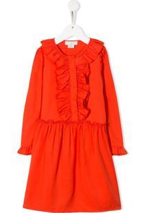 Stella Mccartney Kids Vestido Com Babados - Laranja