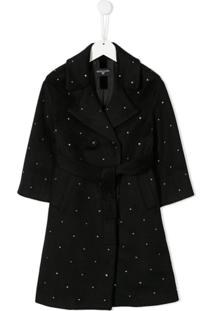 Monnalisa Crystal Embellished Coat - Preto