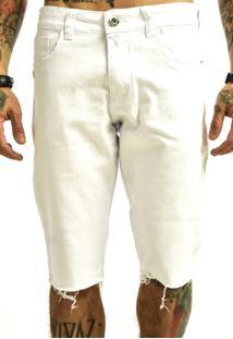 Bermuda Rich Young Sarja Bã¡Sica Lisa Branca - Branco - Masculino - Dafiti
