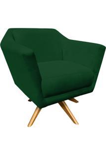 Poltrona Decorativa D'Rossi Lorena Suede Verde Com Base Giratória De Madeira