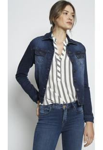 Jaqueta Jeans Com Recortes - Azul Escuro - Leelee