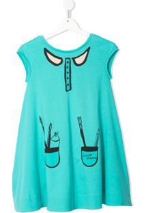 Emporio Armani Kids Vestido Evasê Vom Estampa Gráfica - Verde