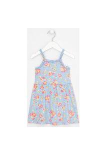 Vestido Infantil Floral Minipompons - Tam 1 A 5 Anos   Póim (1 A 5 Anos)   Azul   03