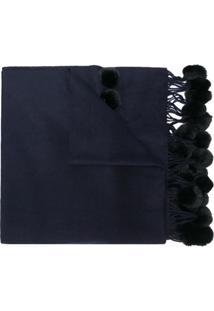 N.Peal Cachecol De Cashmere E Pele De Coelho - Azul