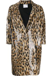 In The Mood For Love Jaqueta Sara Com Animal Print - Marrom