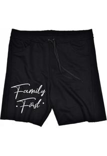 Bermuda Tecido Skull Clothing Family First Preto
