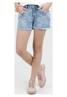 Short Juvenil Jeans Marmorizado Marisa
