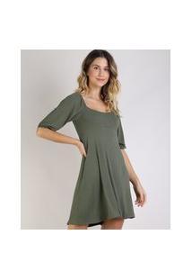 Vestido Feminino Curto Canelado Manga Bufante Verde Militar