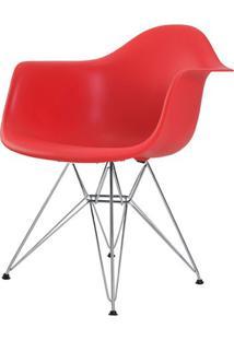 Cadeira Eames Eiffel Com Braco Polipropileno Cor Vermelho Base Cromada - 44924 Sun House