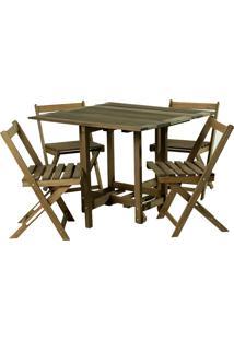 Conjunto De Mesa Com 4 Cadeiras -Mão E Formão - Nogueira