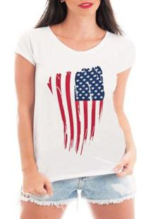 Camiseta Bata Criativa Urbana Bandeira Eua Usa - Feminino-Branco