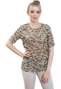 Camiseta 4 Ás Camuflada Manga Curta Verde
