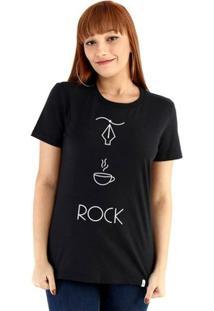 Baby Look Ouroboros Manga Curta Design+Café+Rock - Feminino