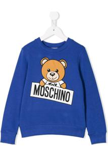 e6552d36877f9 Moschino Kids Moletom Com Estampa Do Urso Teddy - Azul