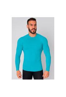 Camisa Bella Fiore Modas Térmica Poliamida Uv Segunda Pele Azul Claro