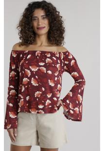 Blusa Ombro A Ombro Estampada Floral Vinho