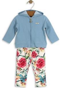 Conjunto Bebê Jaqueta Moletom E Calça Hello Kitty Feminino - Feminino-Azul
