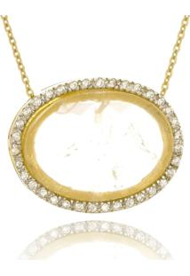 Colar Le Diamond Pingente Pedra Quartzo Rosa - Dourado - Feminino - Dafiti
