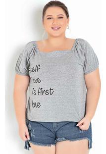 Blusa Mescla Decote Ombro A Ombro Plus Size