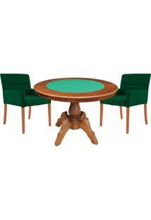 Mesa De Jogos Carteado Redonda Montreal Tampo Reversível Amêndoa Com 2 Cadeiras Vicenza Verde - Gran Belo