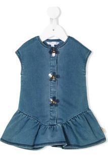 Little Marc Jacobs Vestido Jeans Com Botões De Flor - Azul