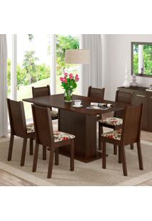 Conjunto De Mesa Com 6 Cadeiras Megan Tabaco E Floral Hibiscos