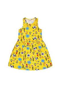 Vestido Infantil Regata Amarelo Flores (12/14) - Brandili - Tamanho 14 - Amarelo