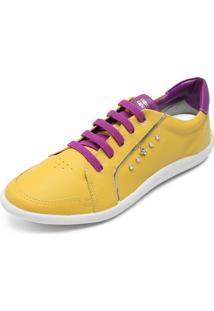 Tênis Cravo & Canela Bicolor Amarelo/Roxo