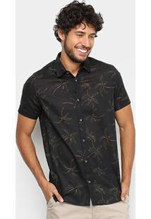 Camisa Acostamento Estampada Masculina - Masculino-Marinho