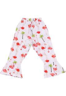 Calça Padroeira Baby Menina Flare Flamingos Branca