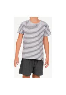 Pijama Infantil Menino Curto Cor Com Amor 66393 Cinza