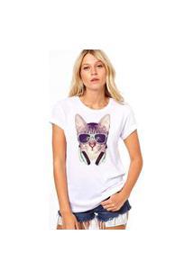 Camiseta Coolest Gato Headphone Branco