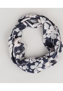 Cachecol Estampado Floral Azul Marinho - Único