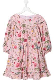 Monnalisa Vestido Mangas Longas Com Estampa - Rosa