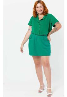 Camisa Cropped Almaria Plus Size Tal Qual Com Gola