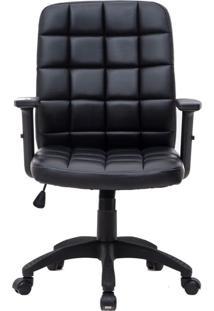 Cadeira De Escritório Diretor Giratória Com Braços Ajustáveis Fitz Preta