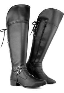 Bota Over The Knee Com Cadarço 11503 Schiareli Feminina - Feminino-Preto
