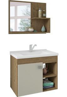 Conjunto De Banheiro Lotus Carvalho E Off White