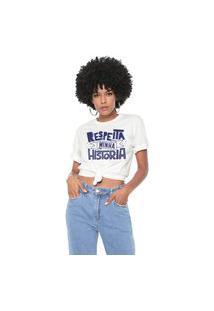 Camiseta Respeita Minha História Baita Peita Off White