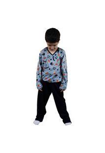 Pijama Grappin Masculino Longo Infantil Juvenil Marinho-E167