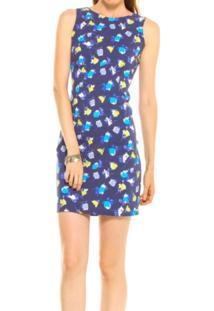 Vestido Divino Efeito Tubinho Quadrado Azul