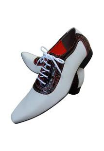 Sapato Masculino Italiano Oxford Em Couro Art Sapatos Vinho Branco