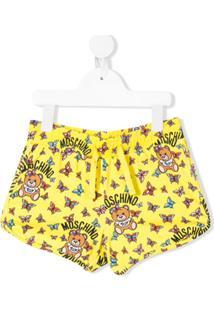 Moschino Kids Toy Teddy Logo Printed Shorts - Amarelo