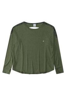 T-Shirt Malwee Manga Longa Com Recortes Costas Em Viscolycra Verde
