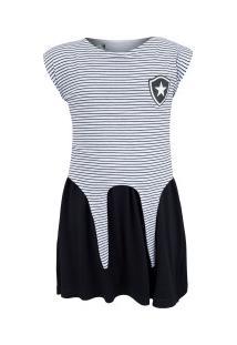 Vestido Do Botafogo Pop 19 - Infantil - Branco/Preto