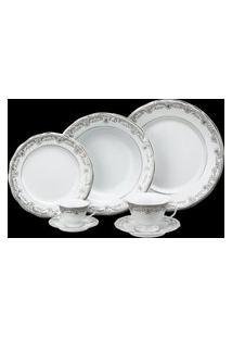 Aparelho De Jantar E Chá Porcelana Schmidt 30 Peças - Dec. Saint Germain