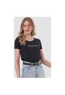 Camiseta Calvin Klein Jeans Logo Glitter Preta