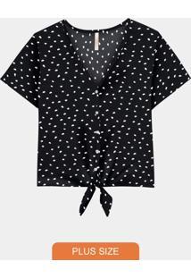Camisa Plus Size Rayon Amarração Preto