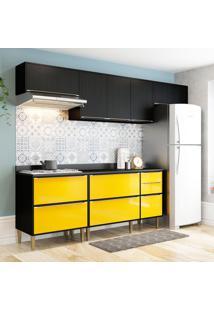 Cozinha Compacta C/ Tampo New York– Multimóveis. - Preto / Amarelo